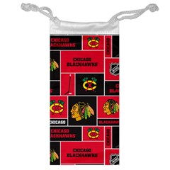 Chicago Blackhawks Nhl Block Fleece Fabric Jewelry Bags