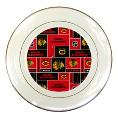 Chicago Blackhawks Nhl Block Fleece Fabric Porcelain Plates