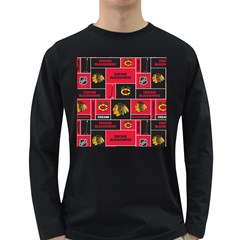 Chicago Blackhawks Nhl Block Fleece Fabric Long Sleeve Dark T-Shirts