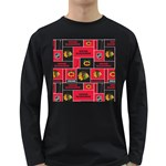 Chicago Blackhawks Nhl Block Fleece Fabric Long Sleeve Dark T-Shirts Front