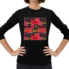 Chicago Blackhawks Nhl Block Fleece Fabric Women s Long Sleeve Dark T-Shirts