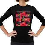Chicago Blackhawks Nhl Block Fleece Fabric Women s Long Sleeve Dark T-Shirts Front