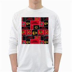 Chicago Blackhawks Nhl Block Fleece Fabric White Long Sleeve T-Shirts