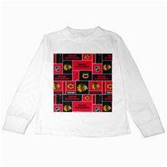 Chicago Blackhawks Nhl Block Fleece Fabric Kids Long Sleeve T-Shirts