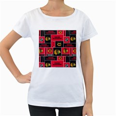 Chicago Blackhawks Nhl Block Fleece Fabric Women s Loose-Fit T-Shirt (White)
