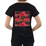 Chicago Blackhawks Nhl Block Fleece Fabric Women s Loose-Fit T-Shirt (Black) Back