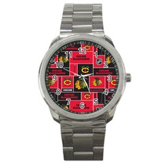 Chicago Blackhawks Nhl Block Fleece Fabric Sport Metal Watch