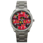 Chicago Blackhawks Nhl Block Fleece Fabric Sport Metal Watch Front