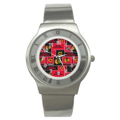 Chicago Blackhawks Nhl Block Fleece Fabric Stainless Steel Watch