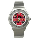 Chicago Blackhawks Nhl Block Fleece Fabric Stainless Steel Watch Front