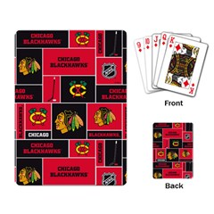 Chicago Blackhawks Nhl Block Fleece Fabric Playing Card