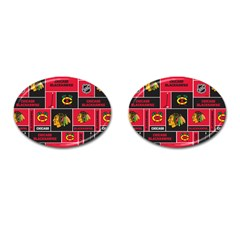 Chicago Blackhawks Nhl Block Fleece Fabric Cufflinks (Oval)