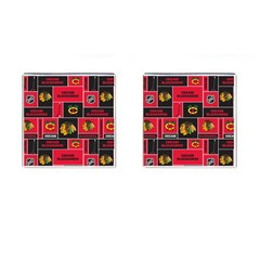 Chicago Blackhawks Nhl Block Fleece Fabric Cufflinks (Square)