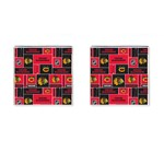Chicago Blackhawks Nhl Block Fleece Fabric Cufflinks (Square) Front