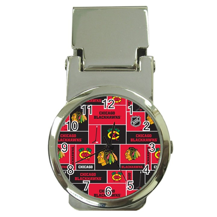 Chicago Blackhawks Nhl Block Fleece Fabric Money Clip Watches