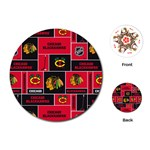 Chicago Blackhawks Nhl Block Fleece Fabric Playing Cards (Round)  Front