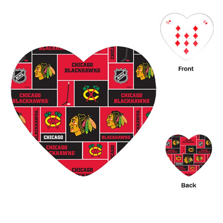Chicago Blackhawks Nhl Block Fleece Fabric Playing Cards (Heart)