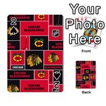 Chicago Blackhawks Nhl Block Fleece Fabric Playing Cards 54 Designs  Front - Spade2