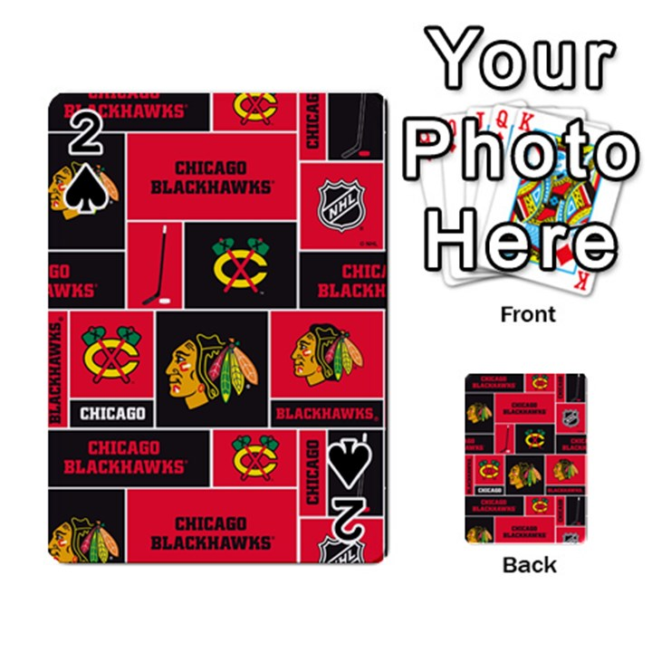 Chicago Blackhawks Nhl Block Fleece Fabric Playing Cards 54 Designs