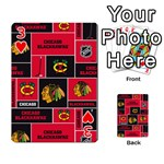 Chicago Blackhawks Nhl Block Fleece Fabric Playing Cards 54 Designs  Front - Heart3