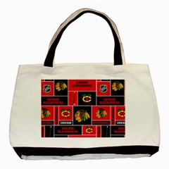 Chicago Blackhawks Nhl Block Fleece Fabric Basic Tote Bag