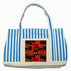 Chicago Blackhawks Nhl Block Fleece Fabric Striped Blue Tote Bag