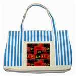 Chicago Blackhawks Nhl Block Fleece Fabric Striped Blue Tote Bag Front