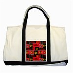 Chicago Blackhawks Nhl Block Fleece Fabric Two Tone Tote Bag Front