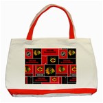 Chicago Blackhawks Nhl Block Fleece Fabric Classic Tote Bag (Red) Front