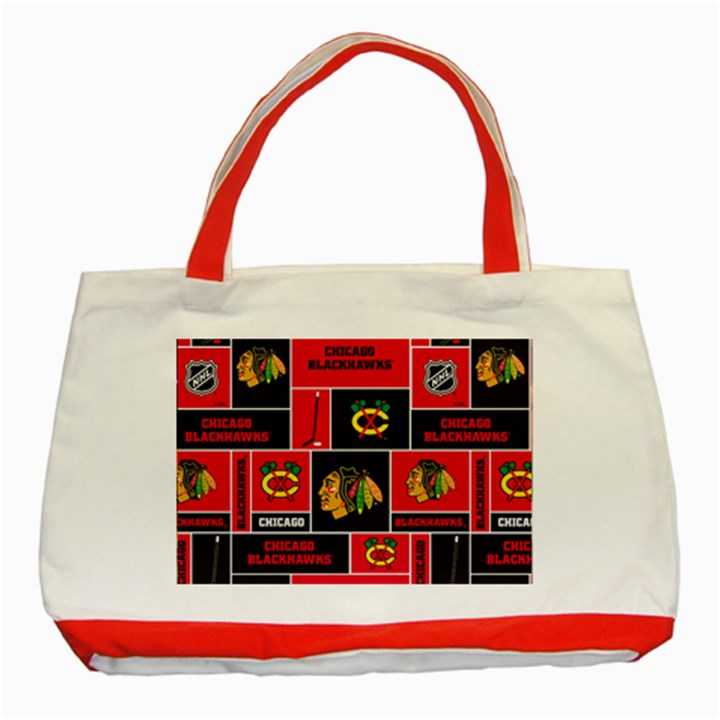 Chicago Blackhawks Nhl Block Fleece Fabric Classic Tote Bag (Red)