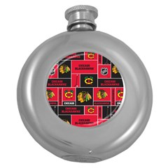 Chicago Blackhawks Nhl Block Fleece Fabric Round Hip Flask (5 oz)