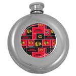 Chicago Blackhawks Nhl Block Fleece Fabric Round Hip Flask (5 oz) Front