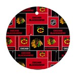 Chicago Blackhawks Nhl Block Fleece Fabric Round Ornament (Two Sides)  Front