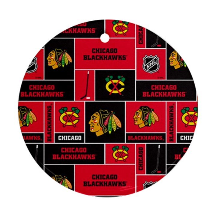 Chicago Blackhawks Nhl Block Fleece Fabric Round Ornament (Two Sides)