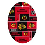 Chicago Blackhawks Nhl Block Fleece Fabric Oval Ornament (Two Sides) Front