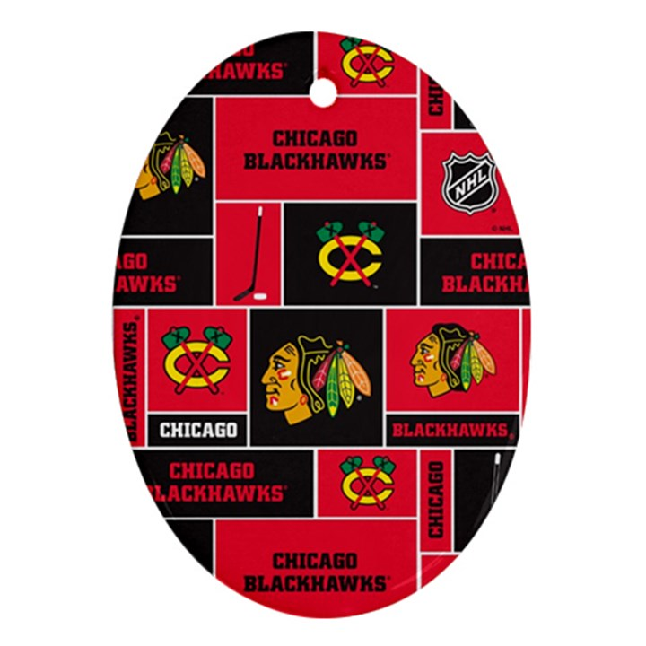 Chicago Blackhawks Nhl Block Fleece Fabric Oval Ornament (Two Sides)