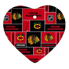 Chicago Blackhawks Nhl Block Fleece Fabric Heart Ornament (2 Sides)