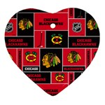 Chicago Blackhawks Nhl Block Fleece Fabric Heart Ornament (2 Sides) Front