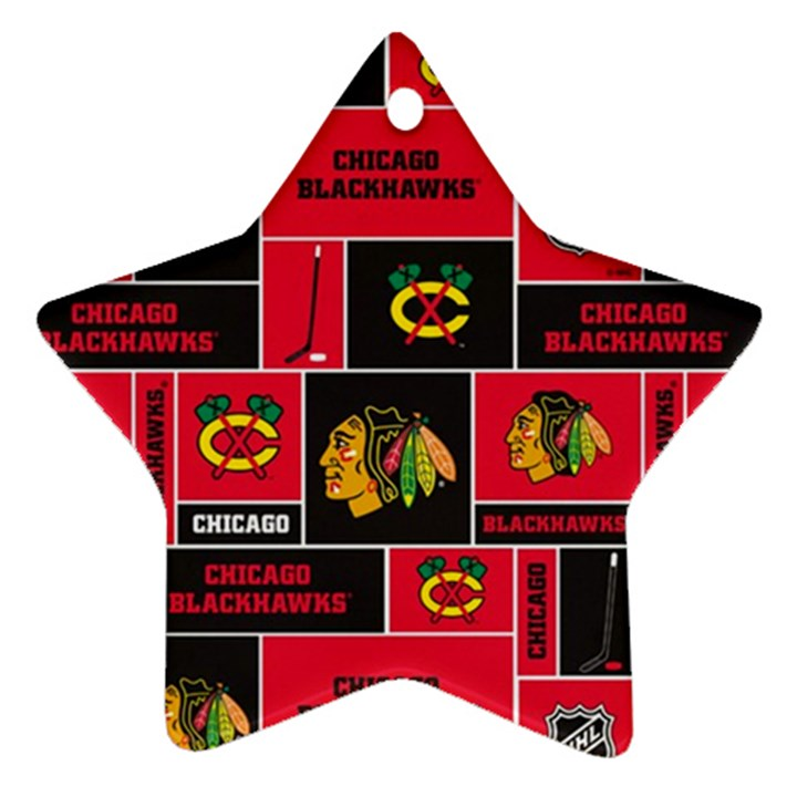 Chicago Blackhawks Nhl Block Fleece Fabric Star Ornament (Two Sides)