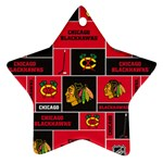Chicago Blackhawks Nhl Block Fleece Fabric Star Ornament (Two Sides)  Back