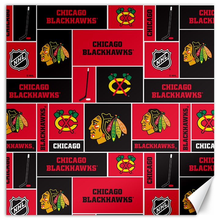 Chicago Blackhawks Nhl Block Fleece Fabric Canvas 12  x 12