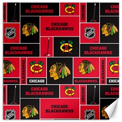 Chicago Blackhawks Nhl Block Fleece Fabric Canvas 20  x 20