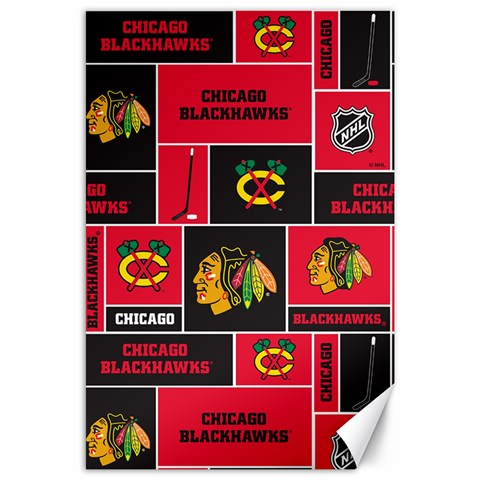 Chicago Blackhawks Nhl Block Fleece Fabric Canvas 24  x 36