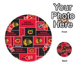 Chicago Blackhawks Nhl Block Fleece Fabric Playing Cards 54 (Round)  Front - HeartK