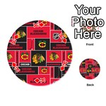 Chicago Blackhawks Nhl Block Fleece Fabric Playing Cards 54 (Round)  Front - DiamondK