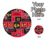 Chicago Blackhawks Nhl Block Fleece Fabric Playing Cards 54 (Round)  Front - Club2