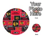 Chicago Blackhawks Nhl Block Fleece Fabric Playing Cards 54 (Round)  Front - Club4