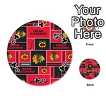 Chicago Blackhawks Nhl Block Fleece Fabric Playing Cards 54 (Round)  Front - Club9