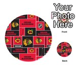 Chicago Blackhawks Nhl Block Fleece Fabric Playing Cards 54 (Round)  Back