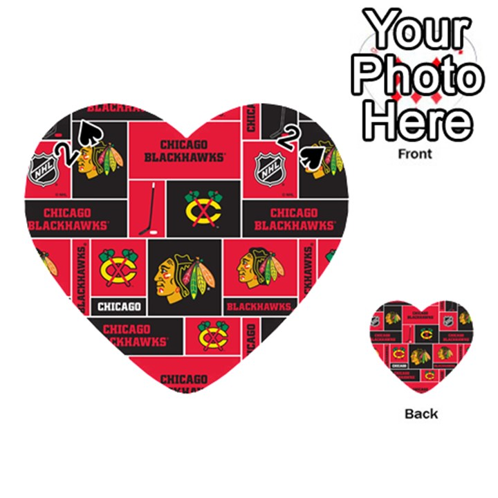 Chicago Blackhawks Nhl Block Fleece Fabric Playing Cards 54 (Heart)